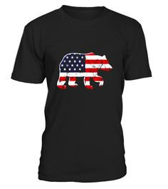Bear USA Flag Shirt 4th of July Clothing for Women Men  Funny Veterans Day T-shirt, Best Veterans Day T-shirt
