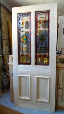 A Beautiful Victorian Style 2 Panel Stained Glass Front Door