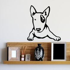 Dog Decal Bull Terrier Toddler, Vinyl Sticker Decal - Good for Walls, Cars, Ipads, Mirrors Etc by PSIAKREW on Etsy