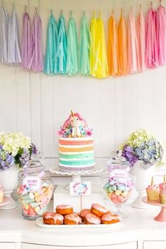 If you love how a Unicorn Theme Party look, then you will love this post. I selected Unicorn Theme Party Ideas you don't want to miss! Colorful Birthday Party, Unicorn Birthday Parties, First Birthday Parties, Birthday Party Decorations, Summer Birthday, Birthday Ideas, Birthday Cake, Rainbow Party Decorations, Paris Birthday