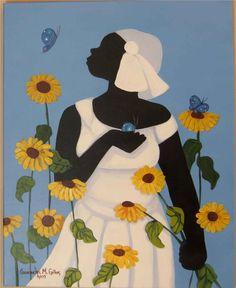 ☆ Artist Cassandra Gillens ☆ In a field of flowers and butterflies