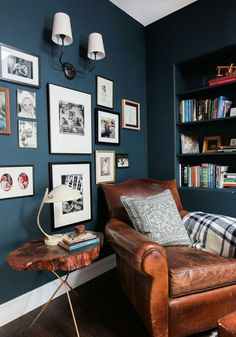 Cozy reading nook with great gallery wall - love the Hague Blue walls decor blue walls The Reading Nook + Get The Look - Emily Henderson Snug Room, Cozy Room, Style Deco, Blue Rooms, Blue Living Rooms, Dining Room Blue, Family Room Design, Home Office Design, Room Colors