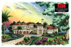 2-Story Caxambas Mediterranean House Plan features 4 bedrooms, 5.5 baths, formal and dining rooms and open floor by South Florida Design.
