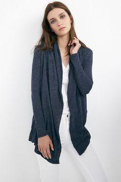 .VELVET By Graham & Spencer Horacia Soft Textured Knit Open Cardigan Blue S $128 #VelvetbyGrahamSpencer #Cardigan #Evening