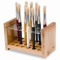 Brush Holder, art studio, artwork, organize, work space, desk, paint, paint brush, artist