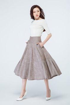 brown skirt, linen skirt, pleated skirt, ruffle skirt, high waisted skirt, pocket skirt, midi skirt, custom made, designers skirts 1690