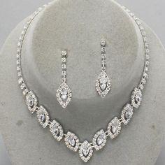 Formal Clear Crystal Fashion Elegant Jewelry Necklace Set Wedding Prom Bridal