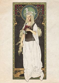 """A beautiful art nouveau look of """"Éowyn with poppies and simbelmynë"""" by Koroa.  """"I was thinking about drawing her in armour and with sword but she looks so pretty and sad in white."""""""