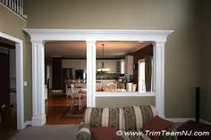 Image result for half wall between living room and dining room