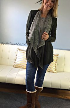 Caramela Benfield Heathered Drape Front Cardigan Stitch Fix Review November  I want this cardigan!!!!