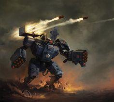 Tau Battlesuit by Andrius Anezin Warhammer 40k Art, Warhammer Models, Warhammer Fantasy, Warhammer Tabletop, Tau Battlesuit, Tau Empire, Far Future, Dc Comics, Starcraft