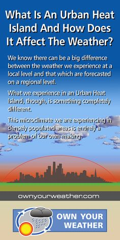 We take a look at what an Urban Heat Island is, how it's created, and its impact on the weather and environment, from street canyons to photochemical smog. Urban Heat Island, Leafy Plants, Rural Area, Global Warming, Regional, Climate Change, Environment, Articles, Weather