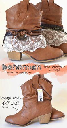 Bohemian Boot Makeover Tutorial