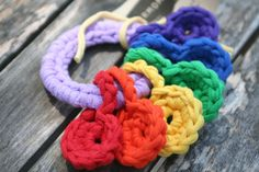 mini handheld rainbow, crocheted t-shirt yarn key ring toy for baby by yourmomdesigns (rts) roygbiv montessori play on Etsy, $7.00
