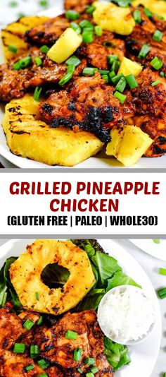 This Paleo + grilled pineapple chicken has a smoky barbecue flavor, with a hint of sweetness and juicy grilled pineapple for a healthy summer dinner! Grilled Pineapple Chicken, Pineapple Chicken Recipes, Grilled Chicken Recipes, Pineapple Dinner Recipes, Pineapple Recipes Healthy, Summer Chicken Recipes, Gluten Free Recipes For Dinner, Whole 30 Recipes, Healthy Dinner Recipes