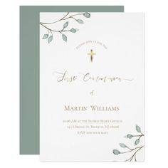 watercolor greenery   First Communion Invitation   Zazzle.com