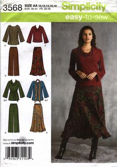 Simplicity 3568 Misses'/Women's Top in Two Lengths, Pants, Skirt and Sash or Scarf
