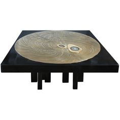 Black Resin and Etched Bronze Coffee Table By Jean Claude Dresse  Belgium  1970's  A square cast black resin coffee table top with round etched bronze center with two agate inlays on a multi legged painted steel base by Jean Claude Dresse, Belgium C.1970's