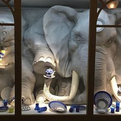 A Bull Elephant in a China Shop Store Window Display Window Display Design, Store Window Displays, Retail Displays, Display Windows, Visual Merchandising Displays, Visual Display, Display Shop, Store Front Windows, Shop Windows