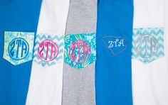 Zeta Tau Alpha Novelty Pocket T-Shirts. www.sassysorority.com #ZTA
