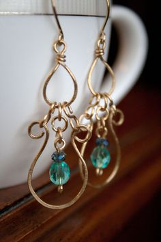 Wire wrap and beaded gold and turquoise by ErinMalaspino on Etsy, $26.00