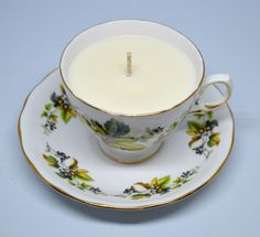 Upcycled Teacup Candle - Royal Vale Leaves and Berries - Vegan Vanilla Soy Candle by FinerySoaps on Etsy