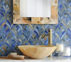 Margot, a jewel glass waterjet mosaic, is shown in Blue Onyx. New Ravenna Mosaics. Or this behind stove! Ravenna Mosaics, Mosaic Backsplash, Mosaic Tiles, Kitchen Backsplash, Travertine Backsplash, Blue Mosaic, Backsplash Ideas, Mosaic Art, Wall Tiles