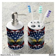 America Bold_ Soap Dispenser And Toothbrush Holder