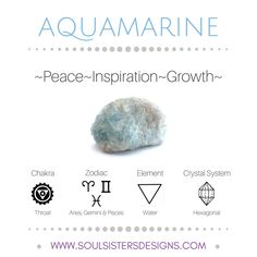 Metaphysical Healing Properties of Aquamarine, including associated Chakra, Zodiac and Element, along with Crystal System/Lattice to assist you in setting up a Crystal Grid. Go to https:/soulsistersdesigns.com to learn more!