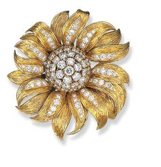 A DIAMOND AND 18K GOLD FLOWER BROOCH, BY VAN CLEEF & ARPELS   Designed as a pavé-set diamond bud with coiled and polished gold leaves and stem, circa 1950, with French assay marks, in its original Van Cleef & Arpels blue suede pouch   Signed Van Cleef & Arpels, no. 14499CS