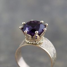Amethyst Ring  14K Yellow Gold  Regal Ring for a by ASecondTime, $695.00