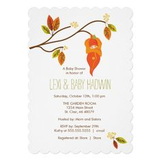 Adorable little leaf baby in tree Fall Baby Shower Invitation. Created By OrangeOstrichDesigns