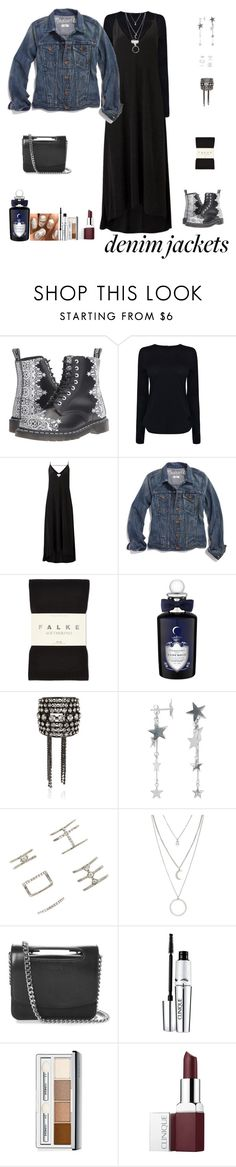 """Jean Jackets For Fall"" by sereneowl ❤ liked on Polyvore featuring Dr. Martens, Helmut Lang, Witchery, Madewell, Falke, PENHALIGON'S, Erickson Beamon, Anna + Nina, Forever 21 and Jil Sander"