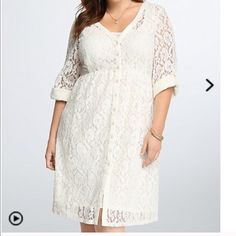Ivory Torrid Lace Shirt Dress Brand new never worn! Such a beautiful piece! I love the heavy lace! BNWT torrid Dresses