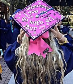 A bold idea from @SororitySugar - follow your heart and decorate your graduation cap with all types of glittery and vibrant accessories!