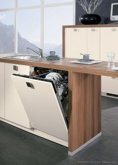 Idea of the Day: Modern Two-Tone Kitchens. (By ALNO, AG). Classy, two tone antique white medium wood built in dishwasher Two Tone Kitchen Cabinets, Built In Dishwasher, Kitchen Pictures, Suncatchers, Kitchen Design, Dishwashers, Living Room, Wood, Modern