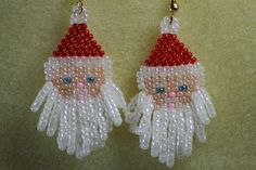 Cute Santa earrings made with seed beads