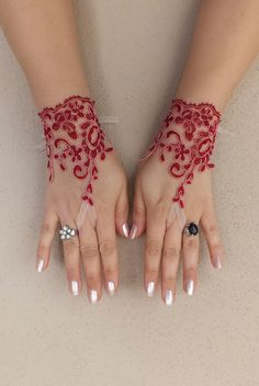 Burgundy lace gloves free ship bridal cuff by WEDDINGGloves, $25.00