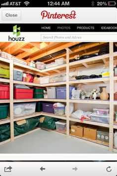 Storage--I wish my basement looked like this!!!  This is exactly the pin I have been looking for all the time I have been on Pinterest.  Thanks for finding it.  Deeda