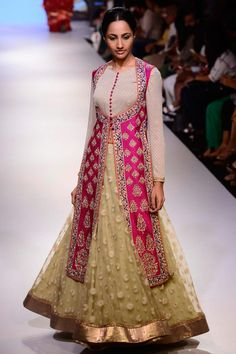 Krishna Mehta presents Fuschia and cream embroidered handwoven jacket lehenga set available only at Pernia's Pop Up Shop. Indian Bridal Lehenga, Indian Bridal Wear, Indian Wear, Indian Dresses, Indian Outfits, Indian Look, Indian Style, Jacket Lehenga, Desi Clothes