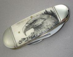 Scrimshaw Pocket Knife with Eagle Head by lindalayden on Etsy, $68.00
