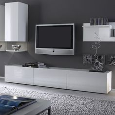 Meuble Tv Design Blanc Laqué Spice 165 Cm Furniture Needed