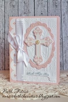 My niece was baptized yesterday, and I wanted to show you the card I created for her. I love how elegant it turned out! I used an embo...