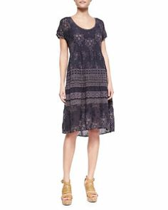 T7KNR Johnny Was Collection Embroidered-Georgette Short-Sleeve Dress $338