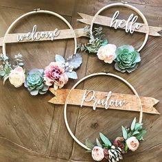 Custom Wreath Succulent Wreath with Family Name