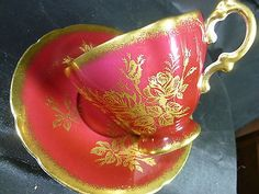 Paragon Fancy TEA CUP AND Saucer Blood RED Gold Rose Floral Brushed Gilt Trim…