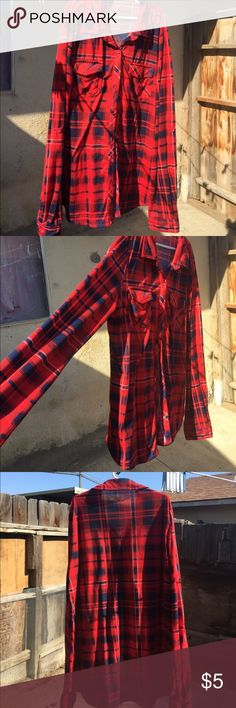 Red flannel Medium red flannel. Worn twice. 😃 Tops Button Down Shirts
