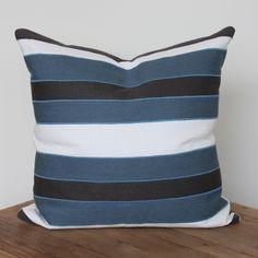 Blue Stripe Pillow – www.SummerHouseStyle.com