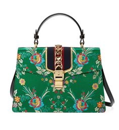 360b36e3dc0e Gucci Sylvie Medium Top Handle Green Floral Brocade Jacquard Cross Body Bag  - Tradesy Gucci Floral