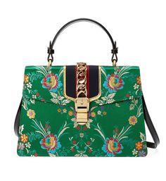 f59253834a4b Gucci Sylvie Medium Top Handle Green Floral Brocade Jacquard Cross Body Bag  - Tradesy Gucci Floral